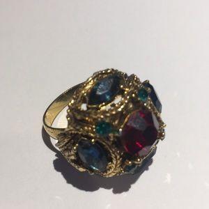😎Antique fruit salad faux stones fashion ring